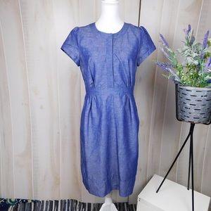 Boden Chambray Modest Sheath Career Dress